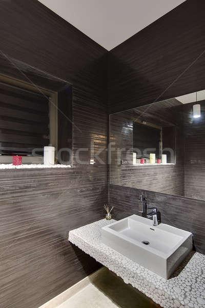 Stockfoto: Badkamer · moderne · stijl · cool · donkere · muren