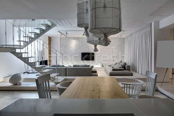 Sala estilo moderno moderna interior blanco paredes Foto stock © bezikus