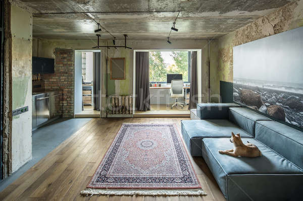 Hal vliering stijl interieur haveloos baksteen Stockfoto © bezikus
