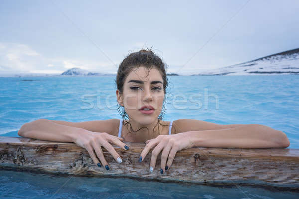 Girl relaxing in geothermal pool outdoors Stock photo © bezikus