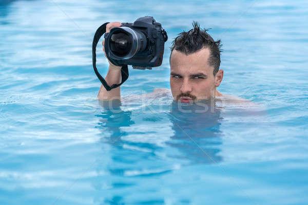 парень расслабляющая бассейна улице смешные черный Сток-фото © bezikus