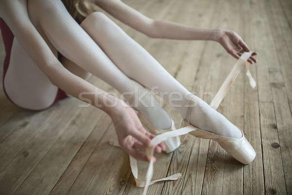 putting on ballet shoes Stock photo © bezikus