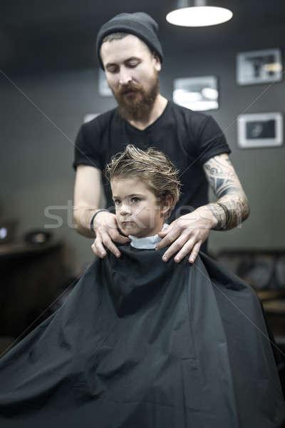 мало Kid осторожный парикмахера борода татуировка Сток-фото © bezikus