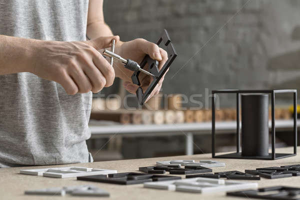 человека ключа семинар работник металл черный Сток-фото © bezikus