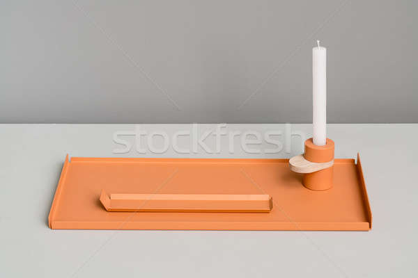 Metal pomarańczowy świecznik elegancki metaliczny wsparcia Zdjęcia stock © bezikus
