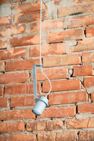 Opknoping metaal grijs lamp groot metalen Stockfoto © bezikus
