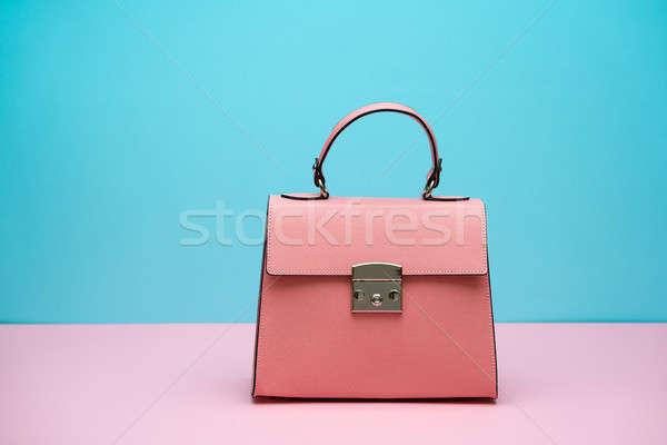 Femminile pelle bag bella corallo rosa Foto d'archivio © bezikus