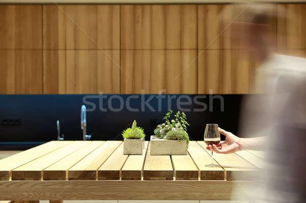 Wooden table in kitchen Stock photo © bezikus