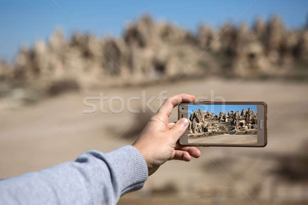 View through phone at the rocks Stock photo © bezikus
