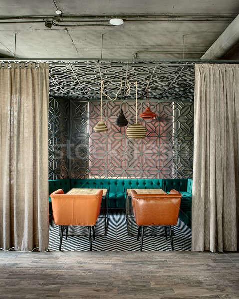 Restoran çatı katı stil harika iç Meksika Stok fotoğraf © bezikus