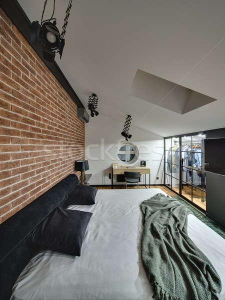 Glowing modern style bedroom Stock photo © bezikus