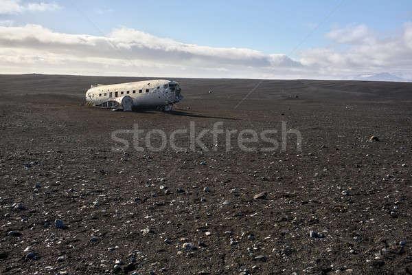 плоскости крушение Исландия заброшенный пляж Blue Sky Сток-фото © bezikus