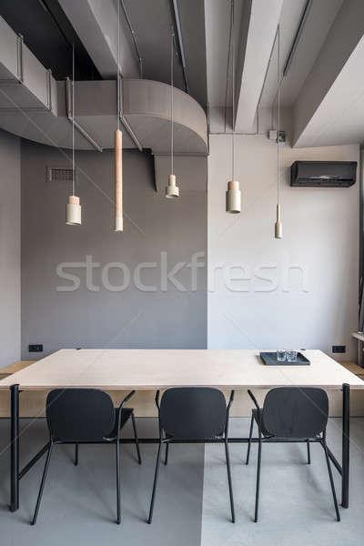 şık ofis çatı katı stil gri duvarlar Stok fotoğraf © bezikus