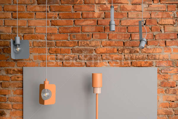 Colorful different metal lamps Stock photo © bezikus