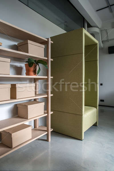 Comfortable office in loft style with gray walls Stock photo © bezikus
