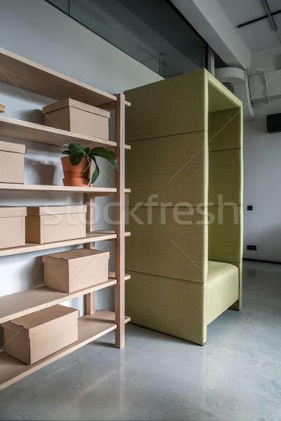Wygodny biuro strych stylu szary ściany Zdjęcia stock © bezikus