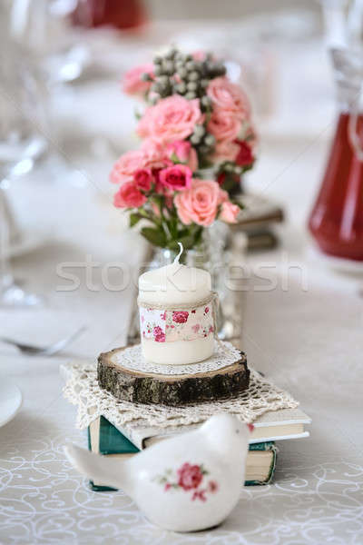 Dekorasyon restoran tablo düğün stil ahşap Stok fotoğraf © bezikus