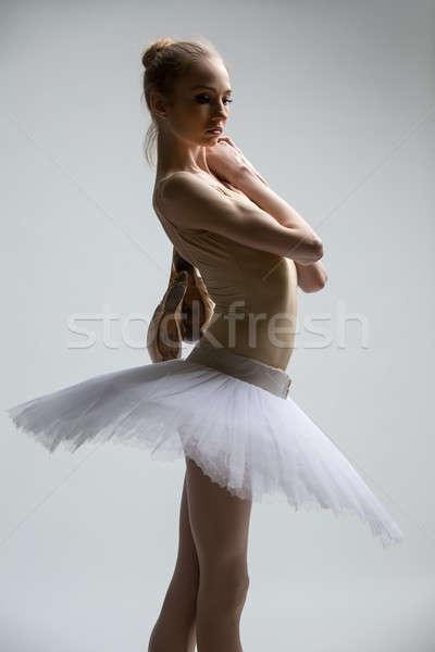 Stok fotoğraf: Portre · genç · balerin · beyaz · kol