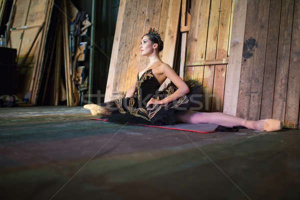 Ballerina sitting on the warm-up backstage Stock photo © bezikus