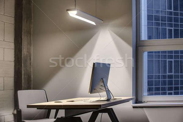Ofis çatı katı stil işyeri gri duvarlar Stok fotoğraf © bezikus