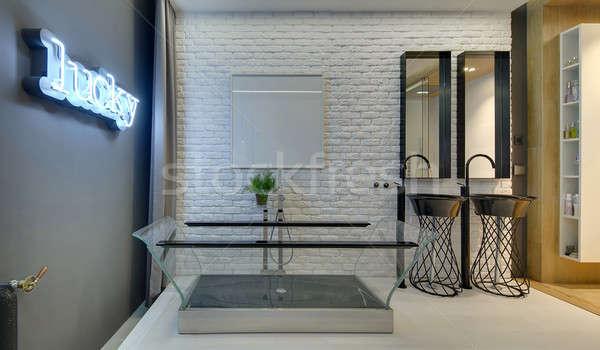 Bathroom in loft style Stock photo © bezikus