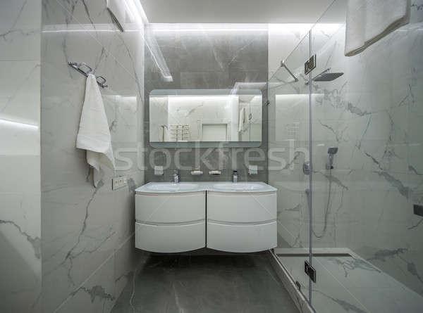 Light bathroom in modern style Stock photo © bezikus