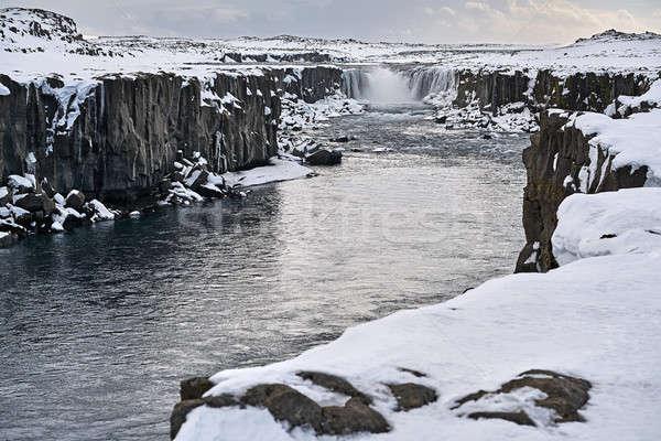 Landschap waterval dramatisch ruw rivier bevroren Stockfoto © bezikus