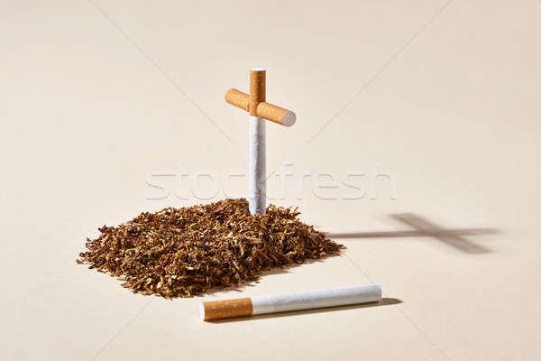 Tytoń grobu papierosów krzyż świetle studio Zdjęcia stock © bezikus