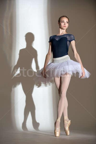 Tele növekedés portré kecses ballerina stúdió Stock fotó © bezikus