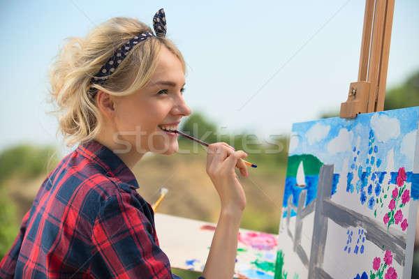 Stockfoto: Mooie · blonde · vrouw · kunstenaar · kleurrijk · foto