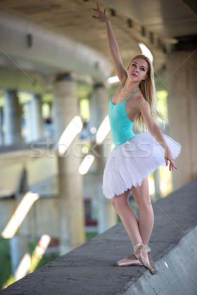 Stockfoto: Bevallig · ballerina · industriële · witte · brug · meisje