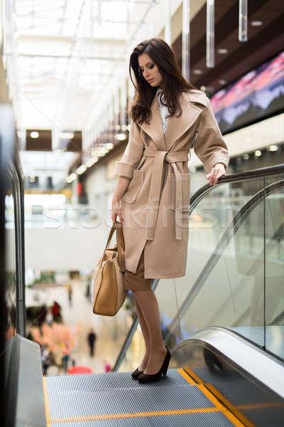Dark-haired woman in a bright coat Stock photo © bezikus