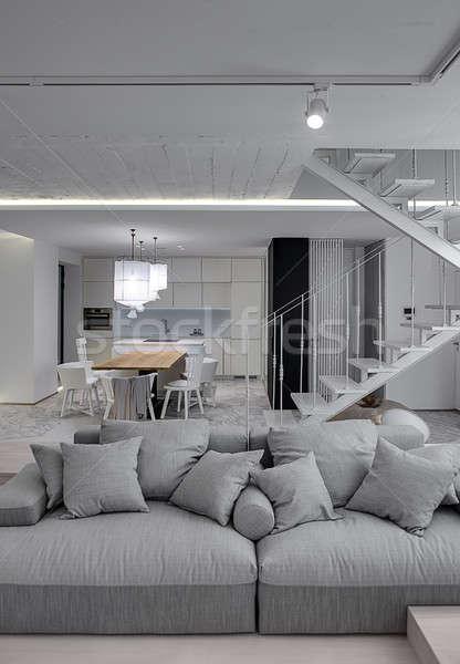 Stanza stile moderno interni bianco muri stair Foto d'archivio © bezikus