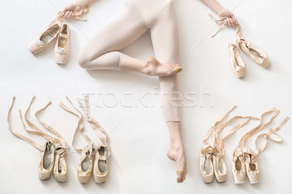Stockfoto: Ballerina · studio · mooie · witte · vloer