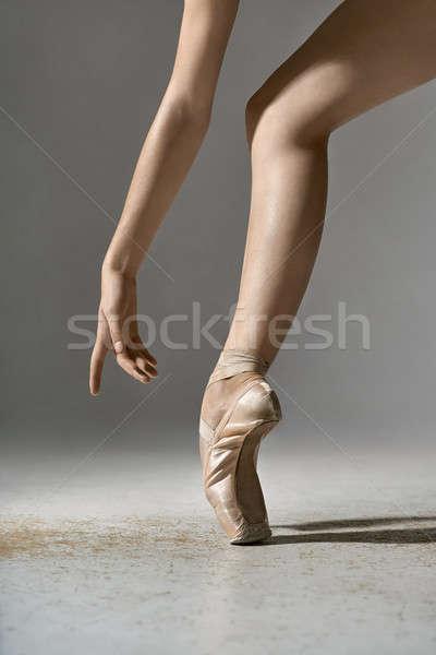 Balletdanser poseren studio ballerina grijs Stockfoto © bezikus