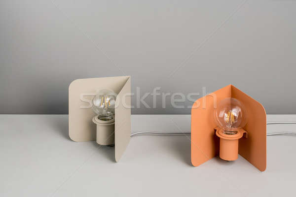 Stock photo: Metal beige and orange edison lamps