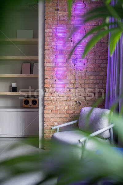 Stylish office in loft style with gray and brick walls Stock photo © bezikus