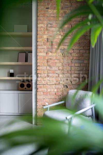 şık ofis çatı katı stil gri tuğla Stok fotoğraf © bezikus