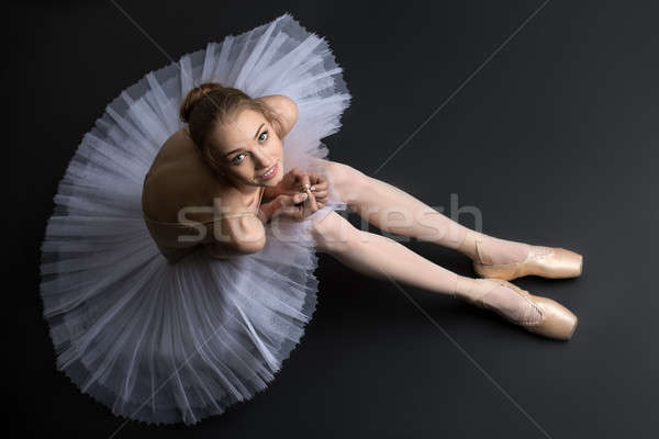 Kecses ballerina ül padló fiatal fekete Stock fotó © bezikus
