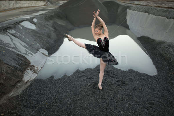 Ballerina on gravel Stock photo © bezikus