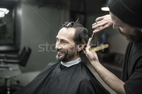 Cheveux souriant barbu homme noir Photo stock © bezikus