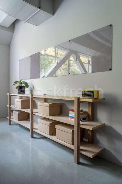 Elegancki wnętrza półki szary ściany Zdjęcia stock © bezikus
