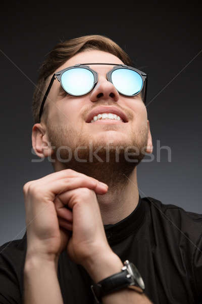 Portet young guy in mirrored sunglasses Stock photo © bezikus