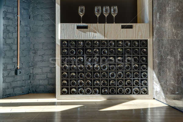 Special shelf for storing wine Stock photo © bezikus