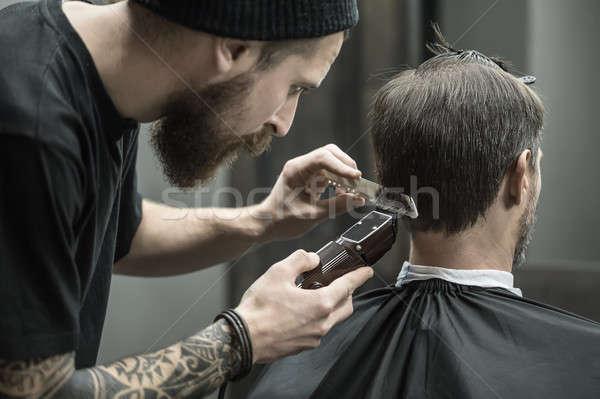 Haren barbier baard tattoo cliënt Stockfoto © bezikus