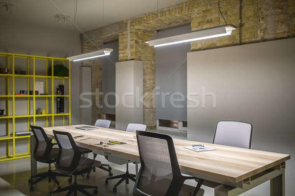 Ofis çatı katı stil işyeri gri tuğla Stok fotoğraf © bezikus