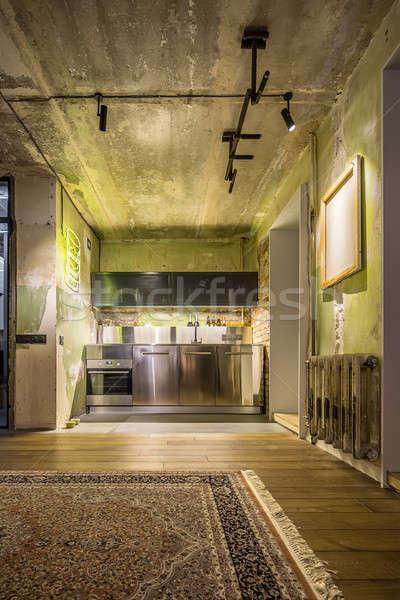 Interieur vliering stijl keuken kamer haveloos Stockfoto © bezikus