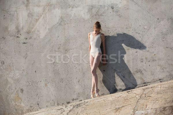 Slim dancer stands in a ballet pose Stock photo © bezikus