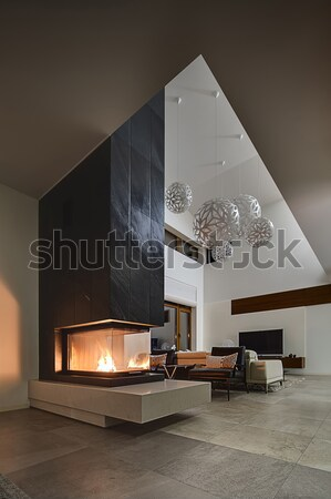 интерьер современный стиль зале коттедж свет стен Сток-фото © bezikus