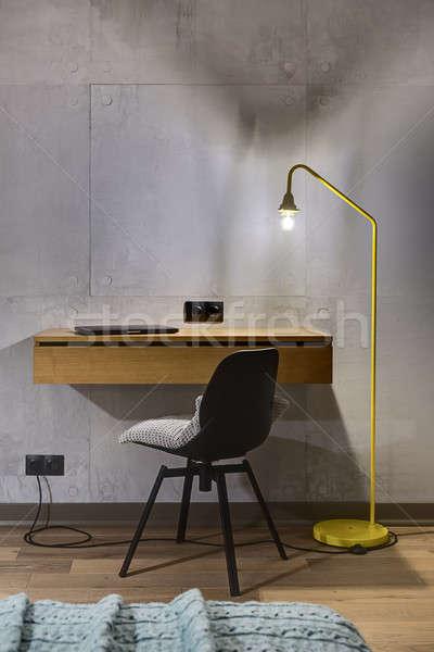 Rack président lampe bois portable noir Photo stock © bezikus